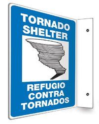 "Accuform 12""x9"" ""TORNADO SHELTER/REFUGIO...TORNADOS"" Projection Sign Panel"