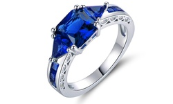 4.00 CTTW Princess-Cut Lab-Created Spinel Ring in 18K White Gold - Size: 7