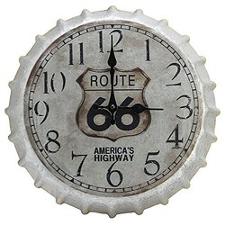 "Springfield Oversized 14.2"" Route 66 Bottle Cap Clock, Indoor Only"