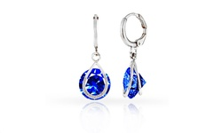 Rel 18KT Plated Floating Frame Sapphire Drop Earrings - White Gold