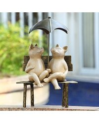 Contentment Garden Sculpture - Two Pigs With Umbrella - 34048
