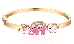 18K Gold Plated Elephant Bangle Made with Swarovski Elements - Pink