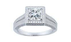 Swarovski Women's Two Row Princess Cut Halo Engagement Ring - Size: 7