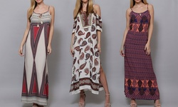 Highness NYC Women's Maxi Geo Print Dress - Navy - Large/XL