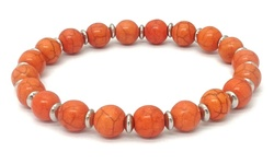 Robert Lee Morris Women's Turquoise Stone Stretch Bracelet - Orange