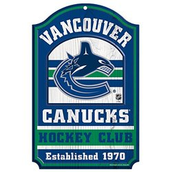 "NHL Vancouver Canucks Hockey Club Wood Sign, 11 x 17"", Multicolor"