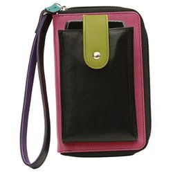 ILI Leather Phone Super Case Wristlet Wallet - Black Brights