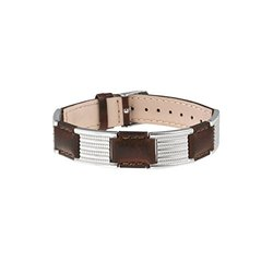 Sabona Unisex Leather Links Magnetic Bracelet - Brown/Silver - Size: One