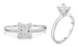 1/4CTW Princess-Cut Diamond Solitaire Ring in 14K White Gold - Size: 7