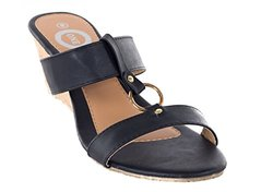 ONE Women Black Platform Loop & Hop Wedge Sandals, 6