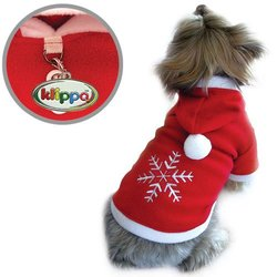 Soft Fleece Holiday Dog Hoodie with Embroidered Snowflake - XS