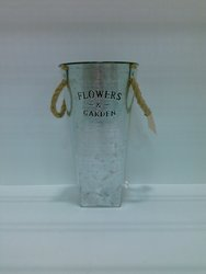 Galvanized Bucket with Flowers & Garden Engraved - Silver