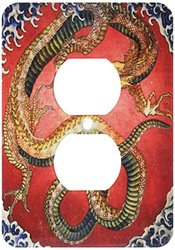 3dRose Image of Japanese Painting of A Drag on with 2 Plug Outlet Cover