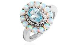 Ava 18K Gold Plated Women's Flower Ring -White Opal Blue Topaz - Size: 6mm