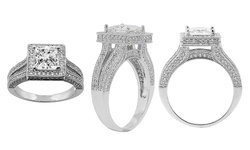Swarovski Women's Two Row Princess Cut Halo Engagement Ring - Size: 8