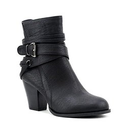 Newtown Multi Strap Buckle Ankle Booties: Black/6