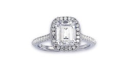 Women's Bridal Sterling Silver Cubic Zirconia Halo Engagement Ring