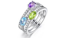 White Gold Gemstone Ring 3-Pack Amethyst Blue Topaz and Peridot - Size: 7