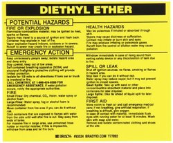 "Brady 3 3/4""x4 1/2"" ""Diethyl Ether"" Vinyl Hazardous Material Label - 25-Pk"