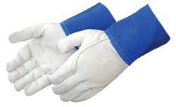 "Liberty 7814 Premium Grain Goatskin TIG Welder Gunn Pattern Glove with 4"" Blue Split Leather Cuff, X-Large (Pack of 12)"