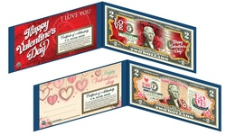 Merrick Mint Valentine?s Day Themed Colorized $2 Bill with Display