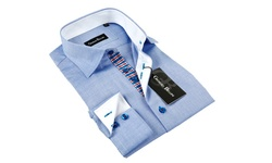 Gianni Men's Button-Down Dress Shirt - Light Blue/White Trim - Sz: S
