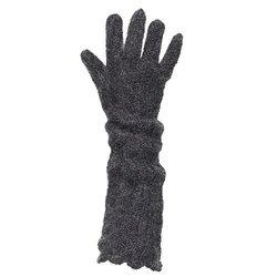 Lisbeth Dahl Long Hand Knitted Gloves - Dark Grey - Size: Medium
