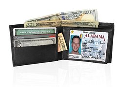 Afonie Men's Leather Wallet Hybrid Bifold with 2 Flip out ID - Black
