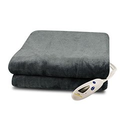 Sherpa Double Toned Electric Heated Throw Digital 6 Heat Settings - Grey