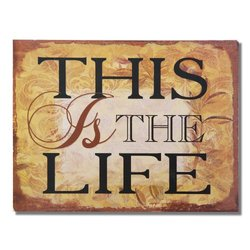 "Adeco Decorative Wood Wall Hanging Sign Plaque ""This Is The Life"" Gold Brown Home Decor"