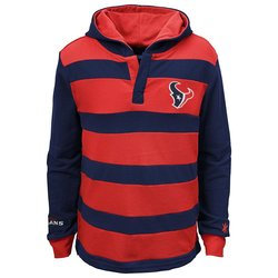 NFL Houston Texans Boys Striped Hoodie - Navy/Red - Size: Youth L (14/16)