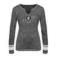 NFL Oakland Raiders Women's Split Crew Neck T-Shirt - Gray - SIze: M