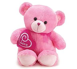 "Valentine's 21"" Plush Pink Bear with ""Love "" Embroidered in Heart"