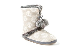 Cuddl Duds Women's Damask Snowflake Boot - Taupe - Size: 9