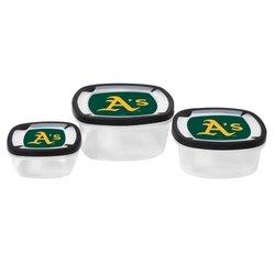 MLB 3-Piece Nesting Square Container Set: Athletics
