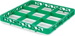 "Carlisle RE9C09 OptiClean 9 Compartment Glass Rack Extender, 5.81"" Compartments, Green, Pack of 6"