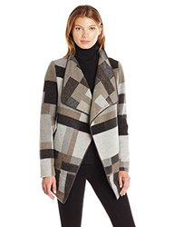 French Connection Women's Oversized Collar Jacket, Grey/Multi, L