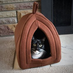 PetMaker PAW Cozy Kitty Igloo-Super Plush Enclosed Cat Bed - Tan