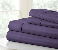 Iemjoy Home Merit Linens Premium Striped Sheet Set - Purple - Queen
