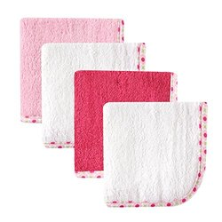 Hudson Baby Pack Girl Print Woven Washcloths - White 10 x, 4