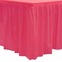"""Party Essentials Heavy Duty Plastic Table Skirt Available in 25 Colors, 29"""" x 14', Hot Pink"""