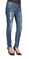 C est Toi Junior's Ripped Skinny Jeans - Medium Wash - Size: 7