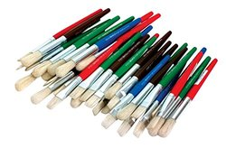 School Specialty Flat And Round Stubby White Bristle Paint Brush Set Set 36