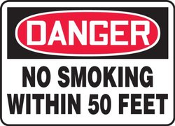 """Accuform Signs MSMK247VP Plastic Safety Sign, Legend """"DANGER NO SMOKING WITHIN 50 FEET"""", 10"""" Length x 14"""" Width x 0.055"""" Thickness, Red/Black on White"""