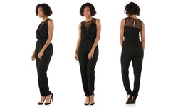 Sociology V-Neck Lace Top Jumpsuit - Black - Size: XL