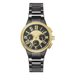 Jbw Women's Black And Gold Tone Diamond Accent Bracelet Watch