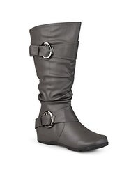 Journee Women's Buckle Slouch Mid Calf Boots - Grey - Size: 7.5