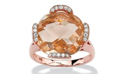 Simulated Morganite & Rose Gold Plated Cubic Zirconia Ring