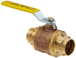 "Apollo 77WLF Series Bronze Ball Valve, Potable Water Service, Two Piece, Inline, Lever, 1-1/2"" Press"