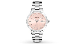 Bulova Woman's Bracelet Watche - Silvertone/Rose Dial